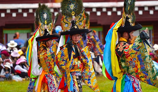 Mask Dance (Cham) Festival at Huiyuan Monastery during Summer Prayer